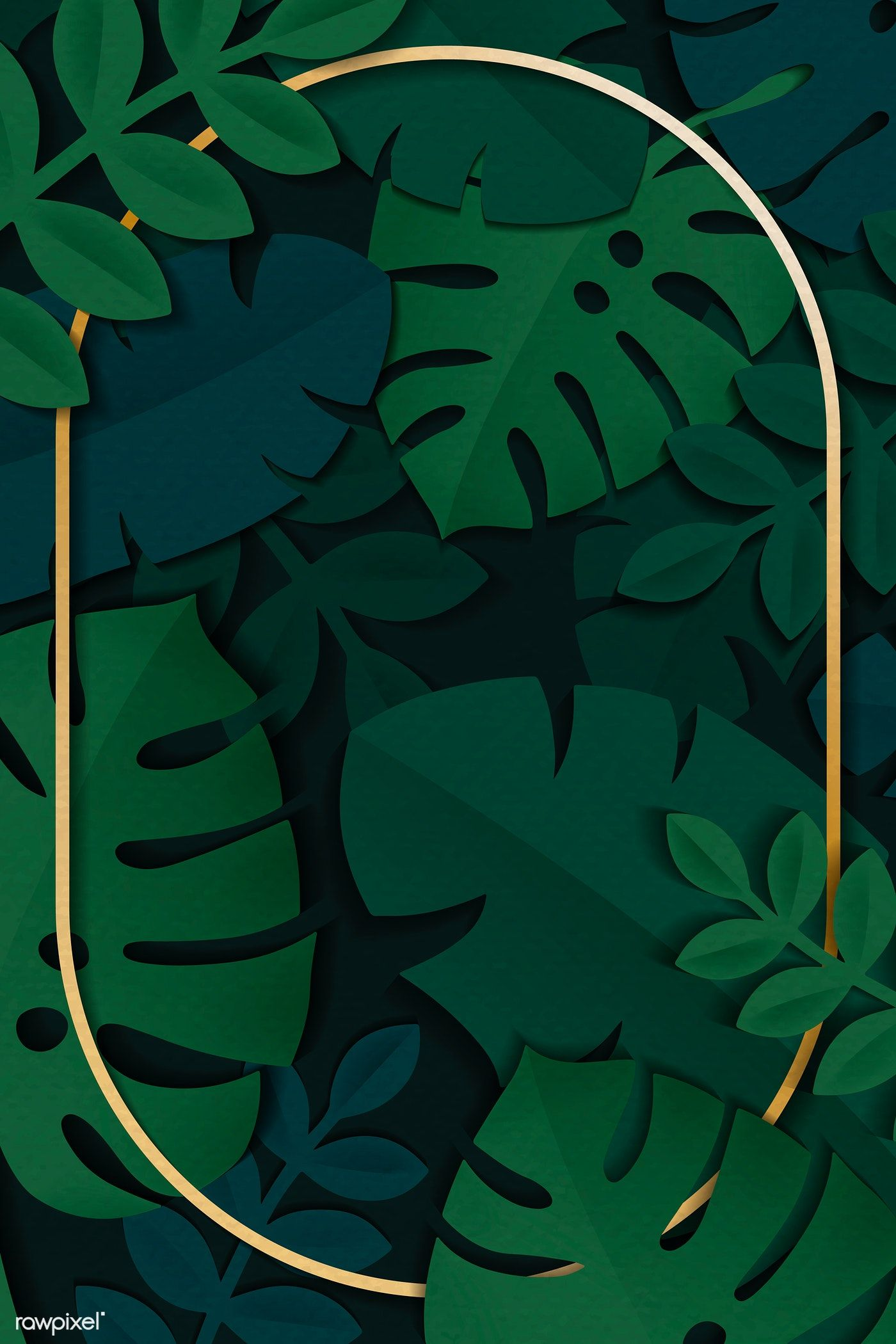 Download Premium Vector Of Gold Oval Frame On A Dark Green Tropical Leaves Vector Background Pattern Flower Background Wallpaper Tropical Leaves Pattern