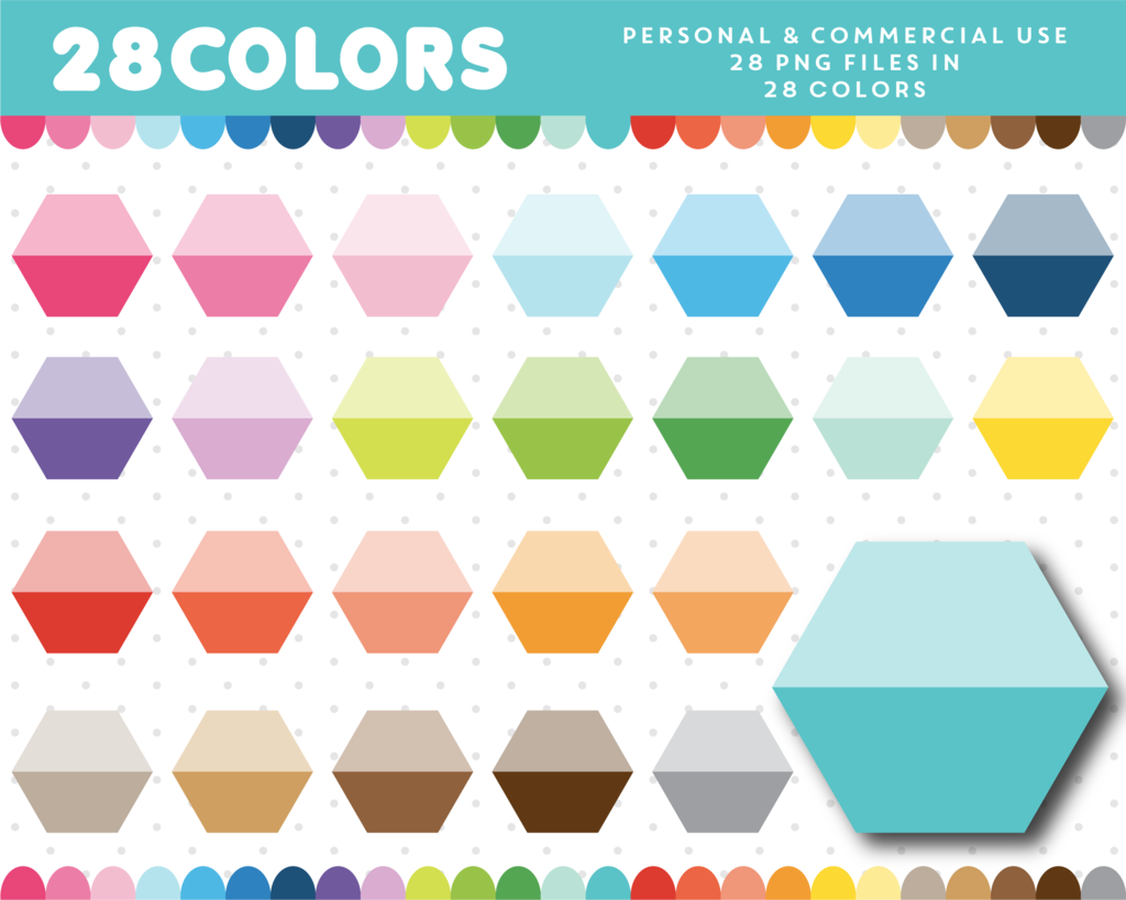 Ombre Hexagon Clipart In 28 Colors Cl 711
