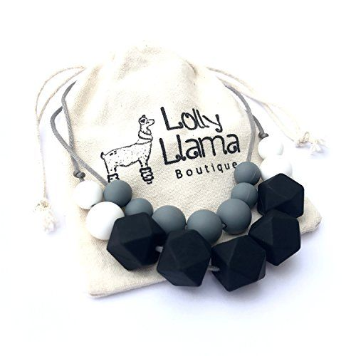 Teething Necklace for Moms by Lolly Llama Black BPA Free Silicone Baby Teether Necklaces//Nursing Necklace with Chewbeads The Perfect Baby Gift New