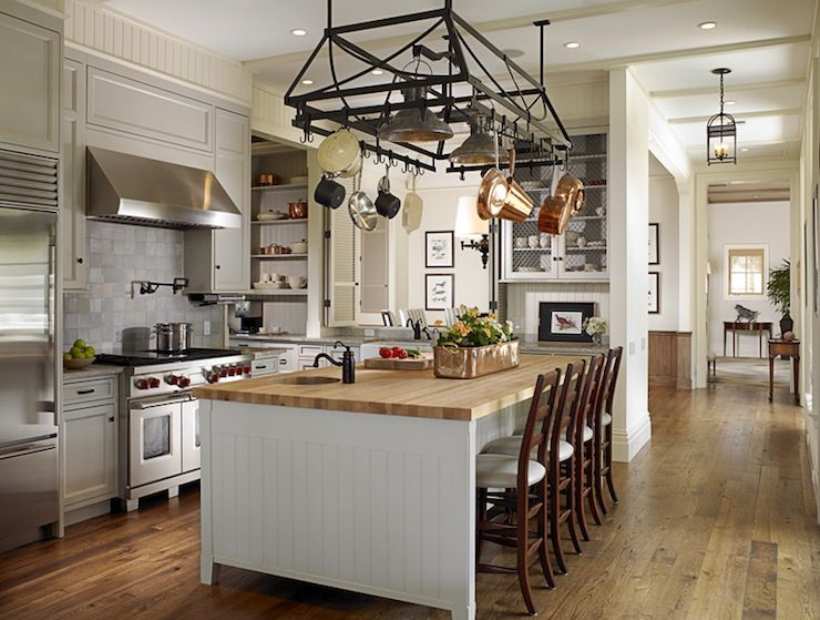 Source Huryn Construction Amazing Kitchen With Wrought Iron Pot Rack Over White Beadboard Center Island Butcher Block Countertop And Pre Sink Accented
