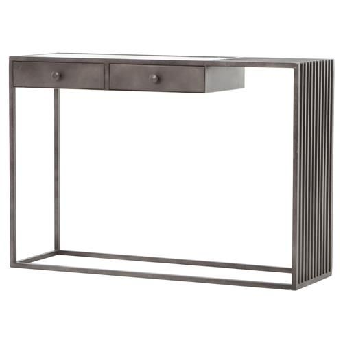 Strom Industrial White Marble Grey Metal Asymmetry Console Table Mebel