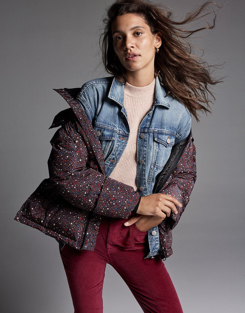 720d9b85794 madewell oversized jean jacket worn with starry night puffer parka ...