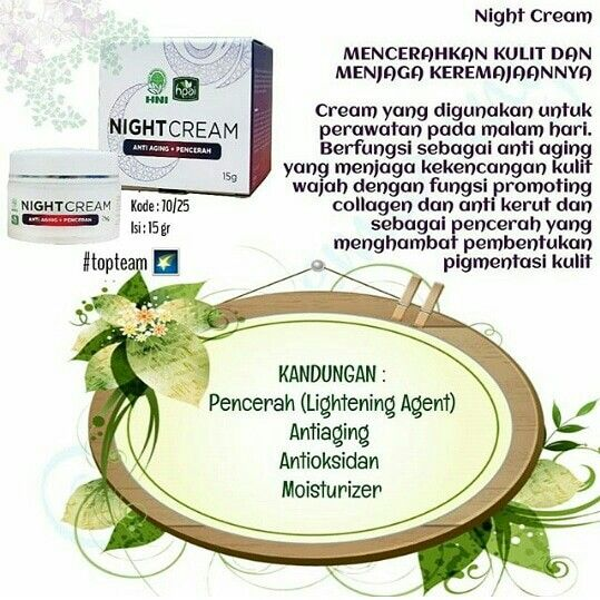 Night Cream HNI | Pencerah kulit, Herba, Kulit