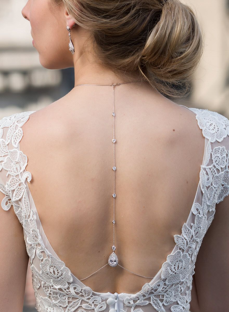 Margaux Lux Tear Drop Back Drop Necklace Body necklace Wedding