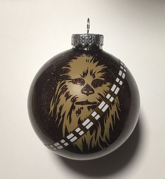 star wars inspired chewbacca christmas glitter ornament 325 glass ball - Chewbacca Christmas Ornament