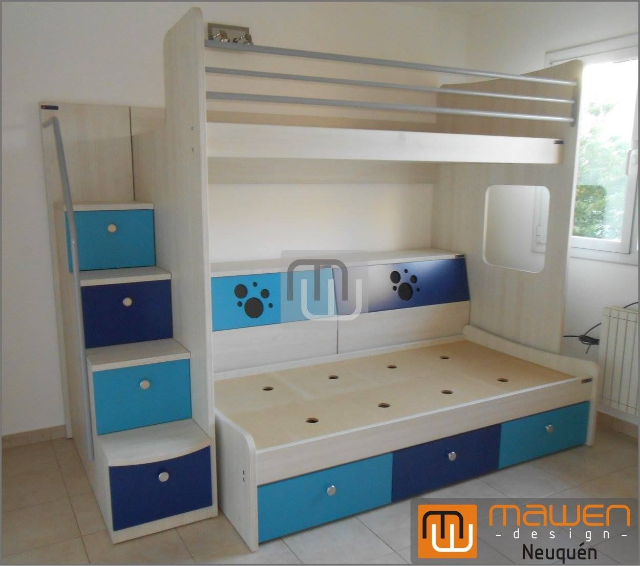 Cucheta alta con baranda triple y escalera de cajones para subir a la cama superior melamina - Escaleras para camas nido ...