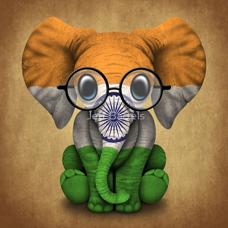 b50a1c9b0 Baby Elephant with Glasses and Indian Flag