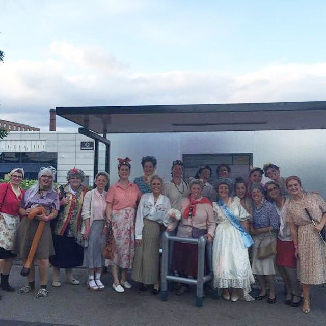 Sisters Fancy Dress Granny Hen Do Bus Stop