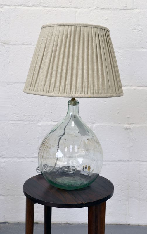 A Small Clear Glass Demijohn Converted To A Lamp With Shade Lamp Clear Glass Glass