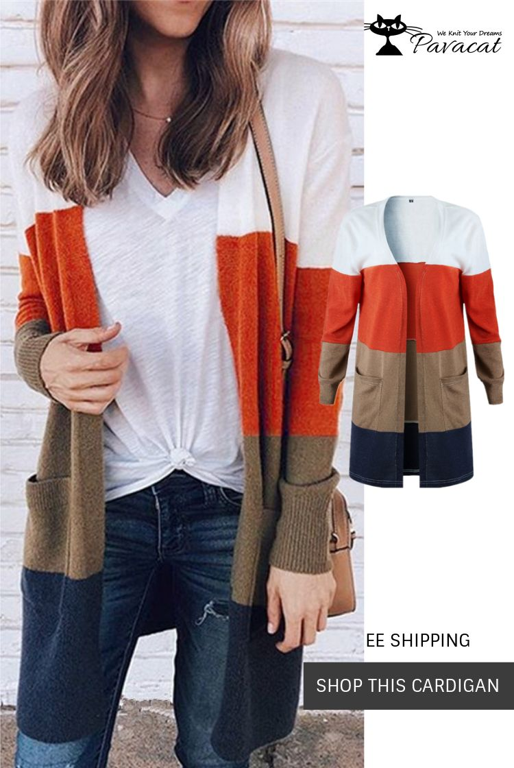 Pavacat Casual Wild Striped Knitted Cardigan in 2019  0b175e68c