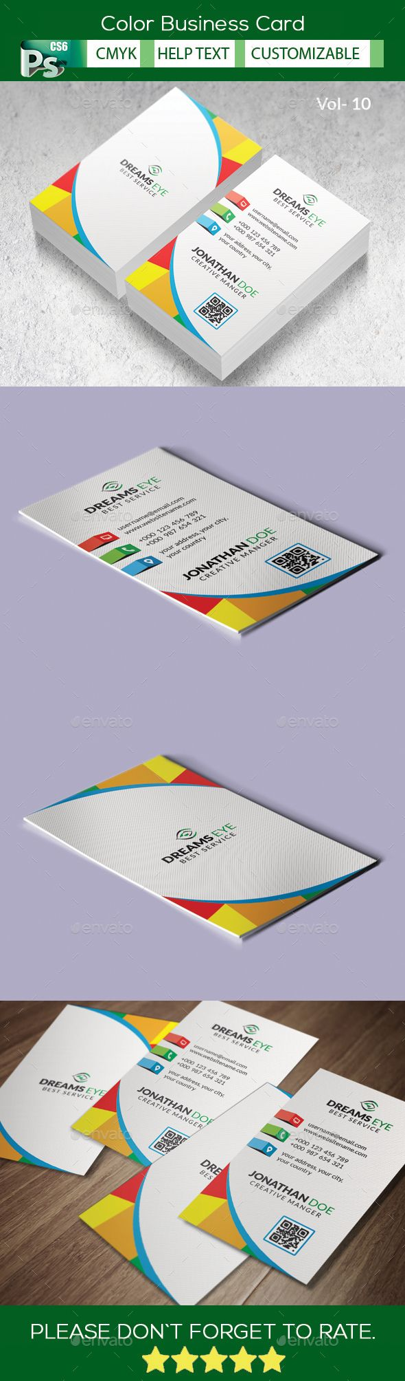 Color Business Card V.10 | Business Card Template Style | Pinterest ...