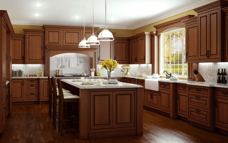 This traditional inset kitchen features Cherry wood in a ...