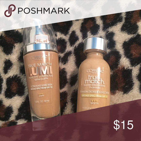 L'OREAL True Match Foundations W6 and W4 True Match Blendable Foundation is in shade W4 (used once). True Match LUMI is in shade W6 (used once). L'Oreal Makeup Foundation
