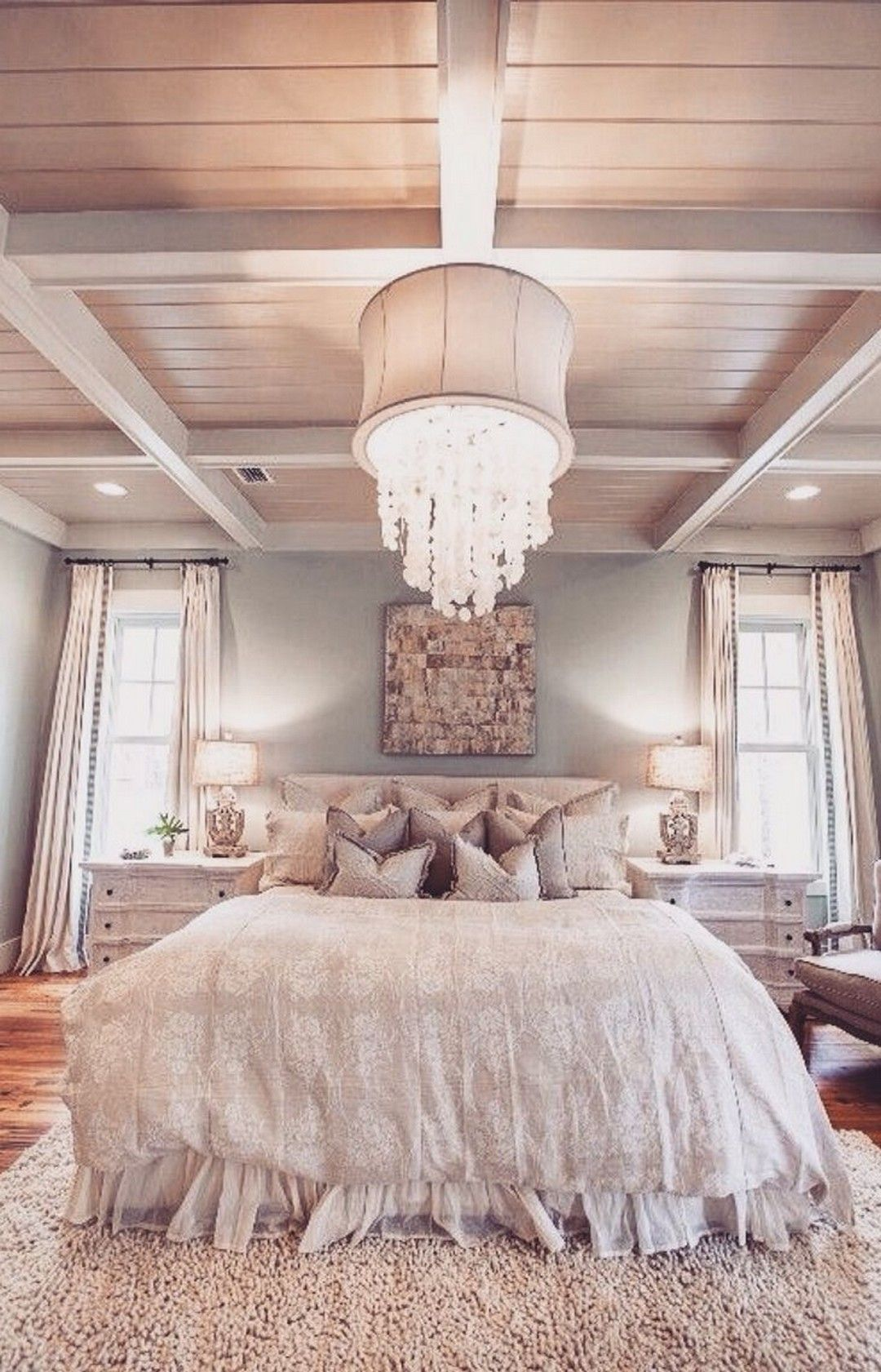 Cottage Master Bedroom With Simon Blake Interiors Sebel Table Lamp Shades Of Light Dripping Crystal Shade Chandelier Romantic Cozy