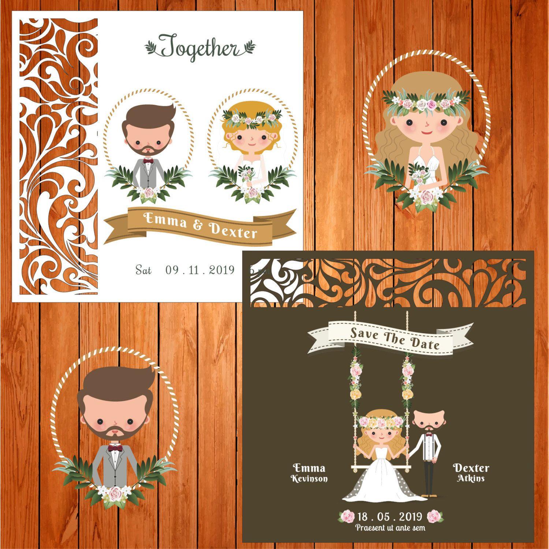 Invitación de la boda tarjeta plantilla monograma, arabescos ...