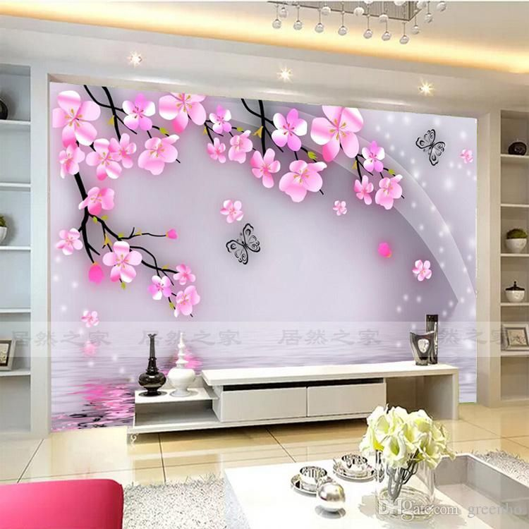 Cherry blossom and butterfly wall mural wall stickers for Butterfly mural wallpaper