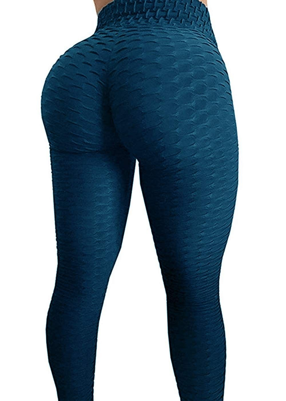 Textured Stretchy Athletic Leggings - Navy - CL18QQDTTUY - Sports & Fitness Clothing, Women, Tights...