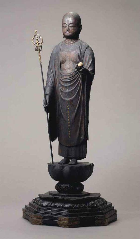 A carved wood figure of the Bodhisattva Jizo, Late Heian - Early Kamakura period (12th century)