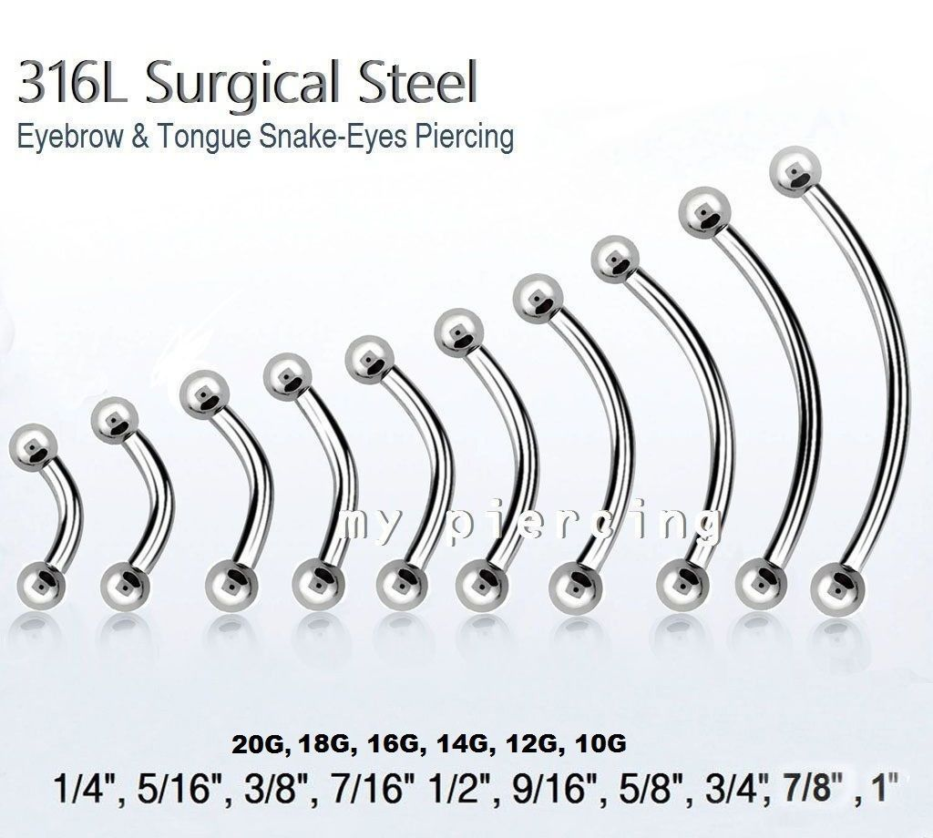 20g 18g 14g 12g 10g Steel Curved Barbell Eyebrow Ring Tongue Snake Eyes Piercing Snake Eyes Piercing Eye Piercing Curved Eyebrows