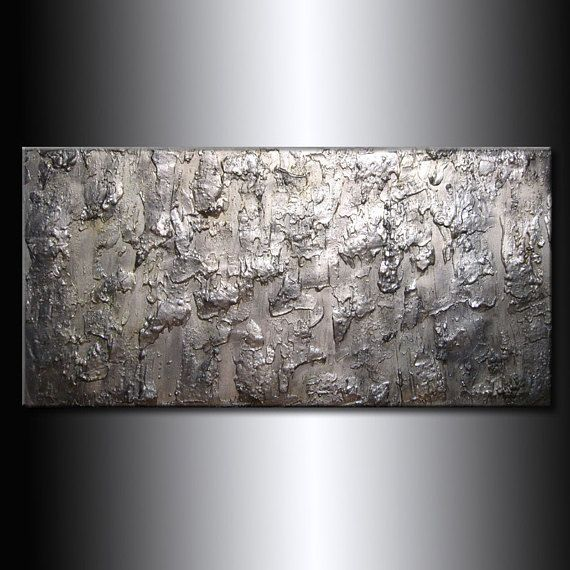 Abstract Painting Metallic Silver Thick Texture Gallery
