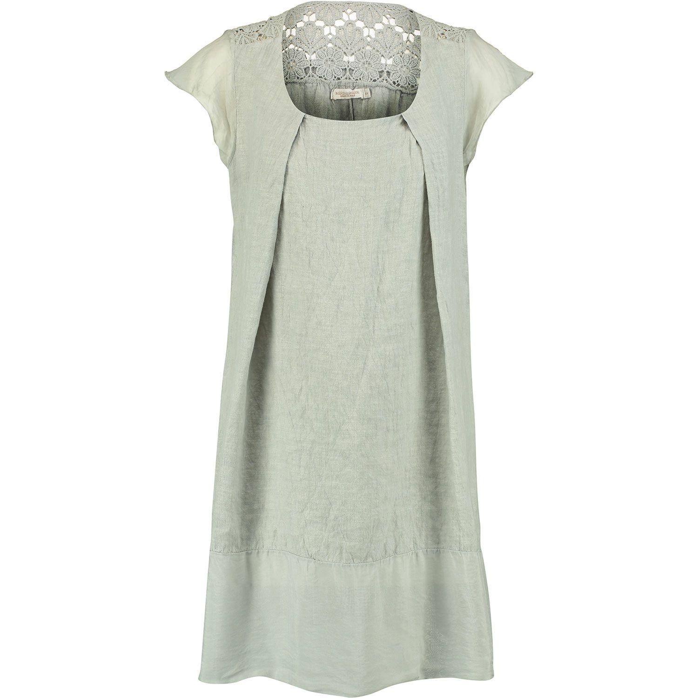 Marisa Marie Grey Linen Crochet Tunic Dress Tk Ma