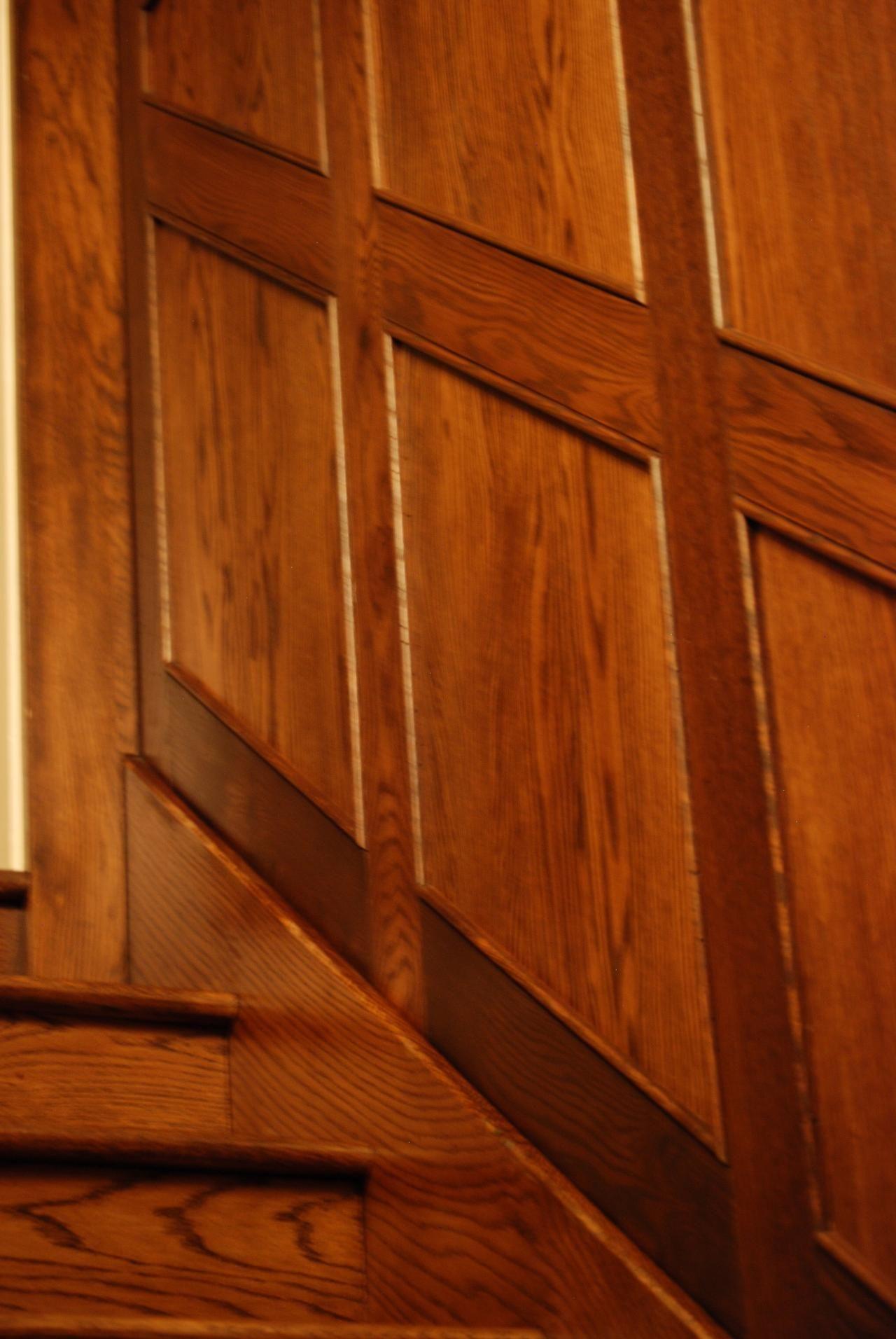 Basement Wood Paneling: Wood Panel Stairway (detail)