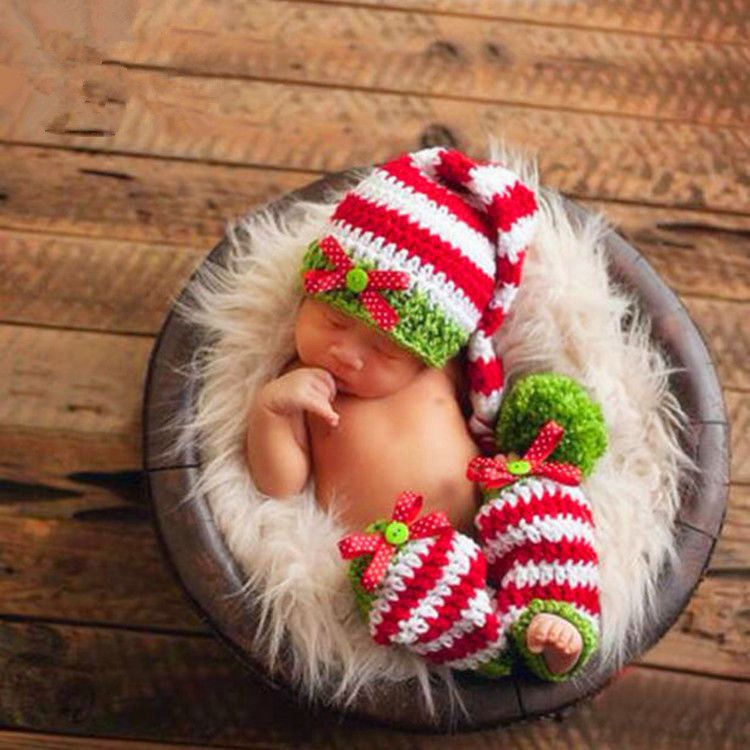 Crochet newborn photography girls knit pants hat costume baby photo prop outfits nibox