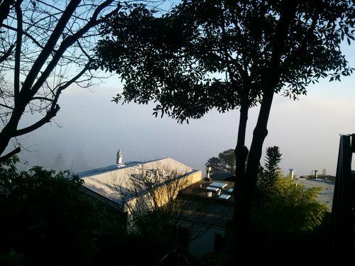 Noe Valley is somewhere beneath the fog! As seen from Glen Park's Harry Street steps.