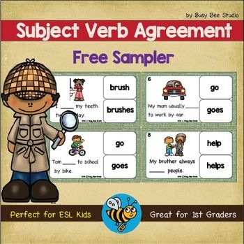 Subject Verb Agreement Task Cards Free Sampler TpT Freebies - agreement in word