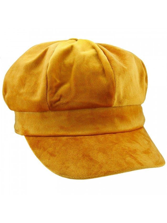 4bdf20d06e1 newsboy Hat-Plain Cabbie Visor Beret Gatsby IVY Caps For Women- -  H-yellow(velvet) - C6188G4ZSRN - Hats   Caps