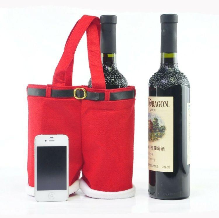 f r die weinflaschen k nnen sie eine weihnachtsmannhose als verpackung n hen weihnachtsbaum. Black Bedroom Furniture Sets. Home Design Ideas