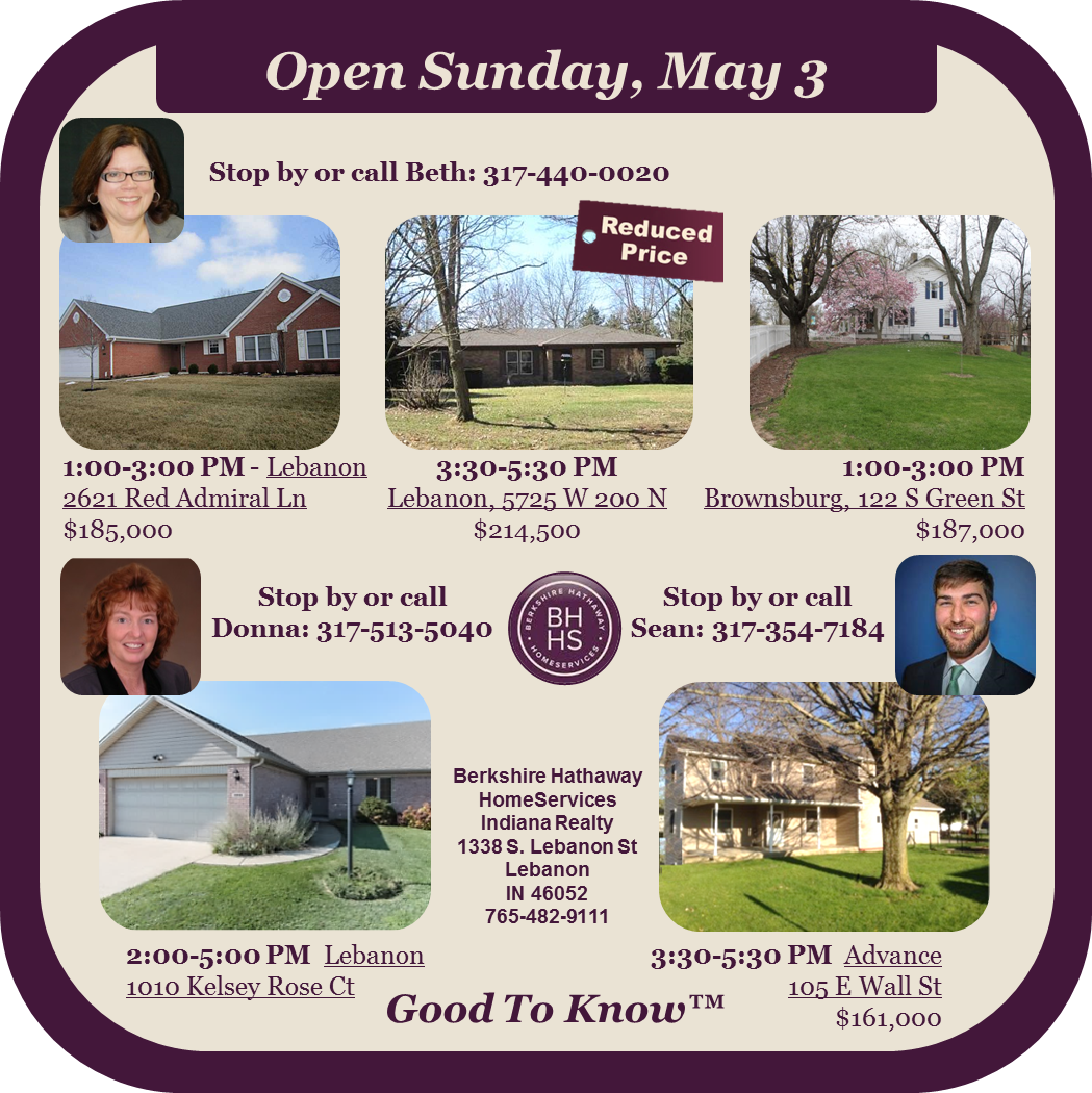 You are invited to our Open Houses this Sunday!