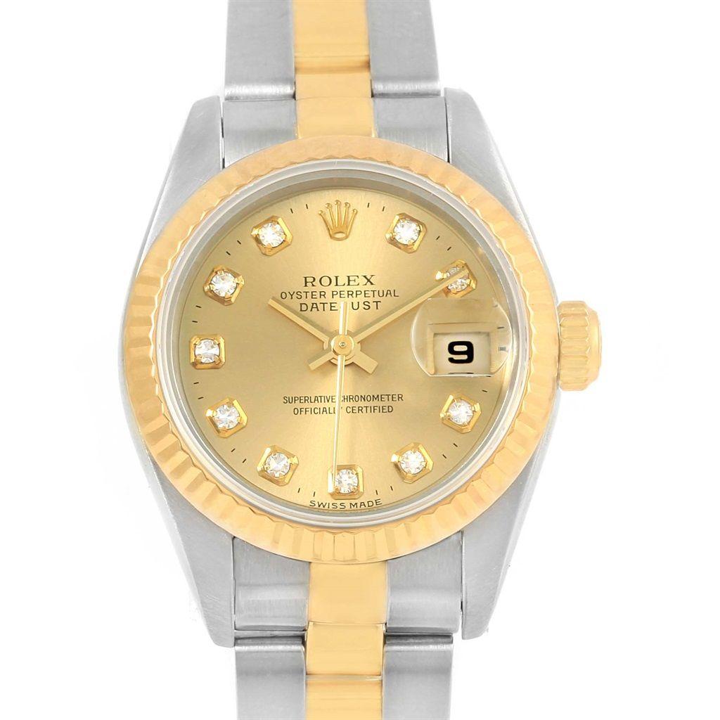 rolex datejust yellow gold steel diamond dial ladies watch