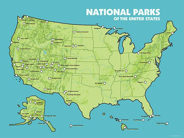 US National Parks Map X Poster National Parks Map Buckets - Us road map poster