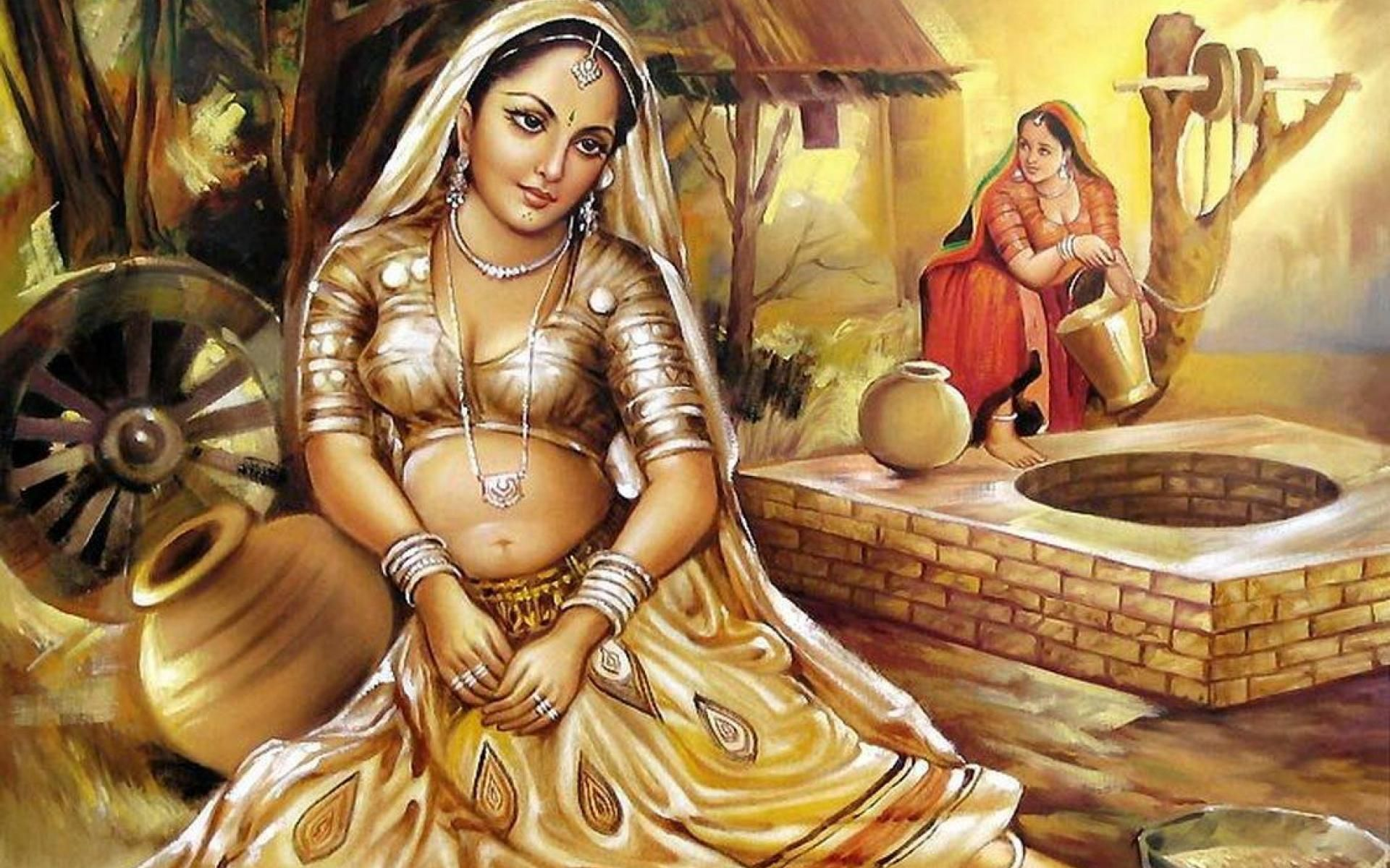 Woman Painting Of Indian Culture Hd Wallpaper For Desktop Painting Of Girl Indian Artist Indian Paintings