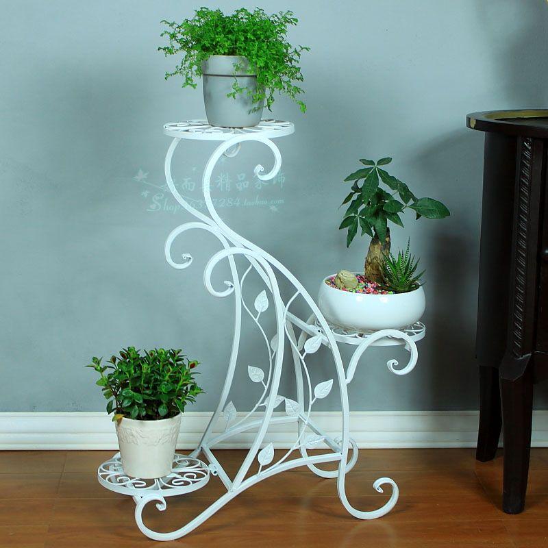 Fashion wrought iron floor multilayer flower white