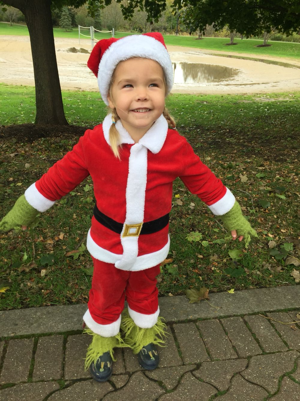 Halloween 2019 Ideas For Kids.Toddler Grinch Costume Homemade Halloween In 2019 Kids