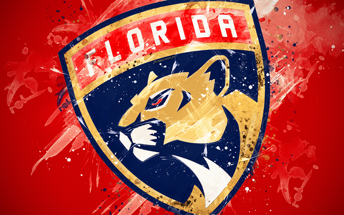 Download wallpapers Florida Panthers, 4k, grunge art, American hockey club, logo, red background, creative art, emblem, NHL, Sunrise, Florida, USA, hockey, Eastern Conference, National Hockey League, paint art