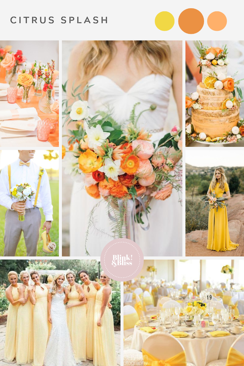 Orange and yellow wedding color palette for a summer wedding.