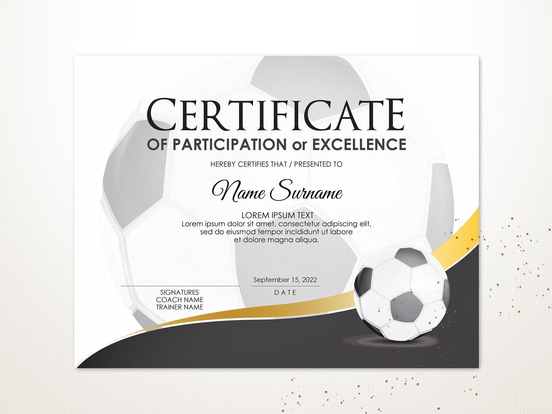 Editable Soccer Ball Certificate Template Sport Certificate Award Printable Sport Certific Certificate Templates Printable Sports Certificate Design Template Sports program template microsoft word