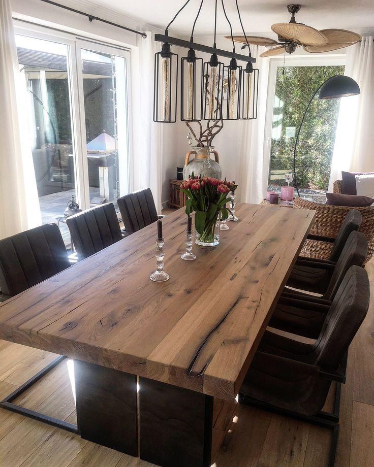 Esstisch Massivholztisch Holztisch mit Stahlwangen Metallrahmen Tisch Tisch #holztisch