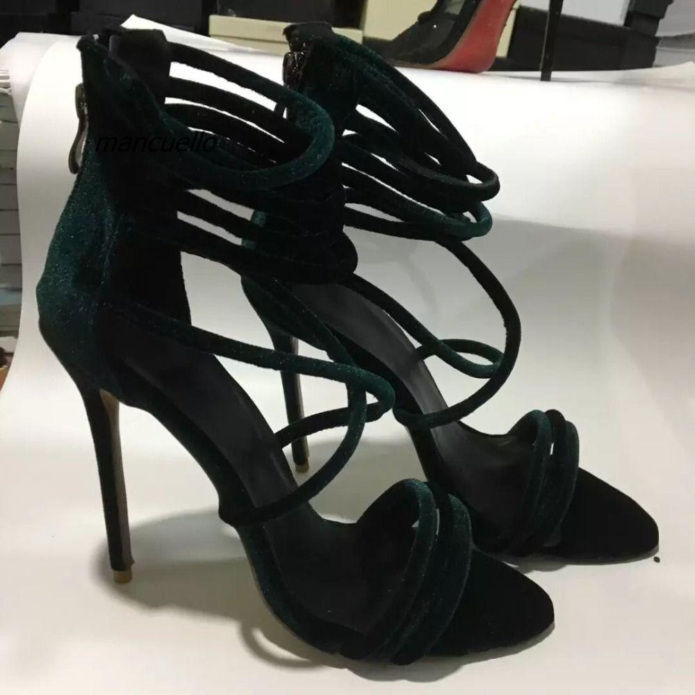Heels for dark green dress  Click to Buy ucuc Elegant Dark Green Suede Rope Style Thin Heel