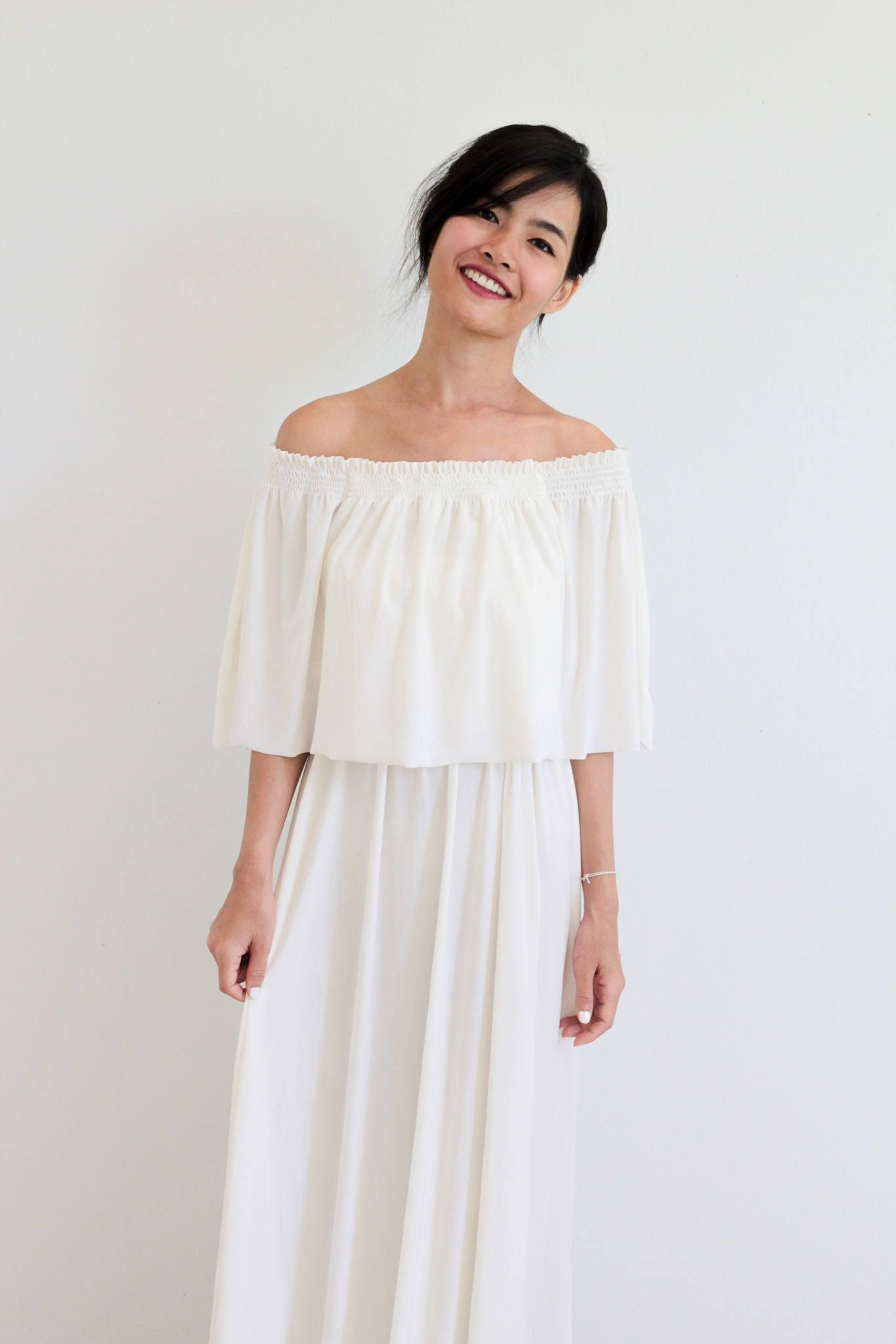 Bridesmaid dress / Ivory white Off Shoulder With Ruffles Dress ...