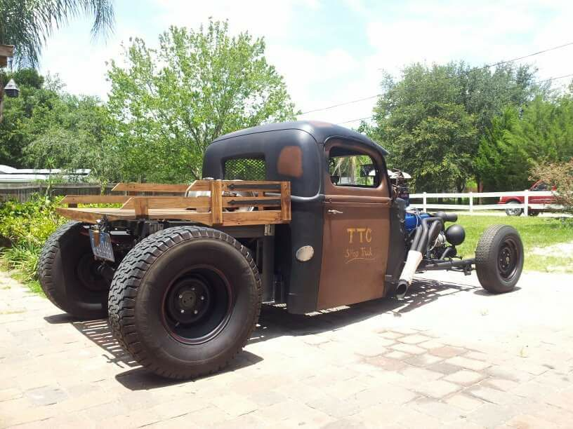 Flat Bed With Wood Slat Sides On The Back Of An Open Wheel Rat Rod Pickup Rat Rods Truck Rat Rod Hot Rod Pickup