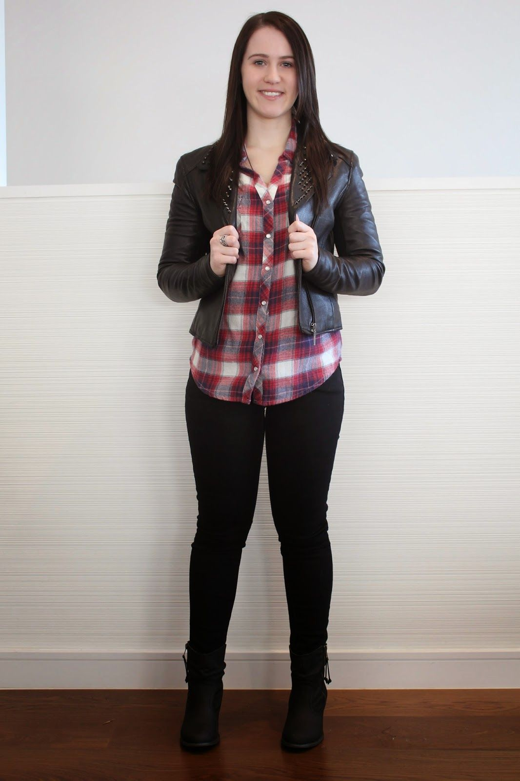 Jeans, flannel/plaid shirt & leather jacket | Brie's Petite World ...