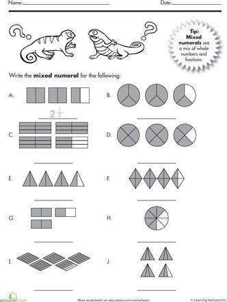 Mixed Numbers Worksheet Education Com Classroom Math Activities Fractions Math School