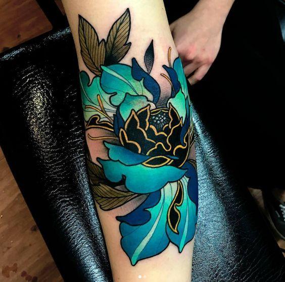 Love These Stunning Colours Tattoo Sleevetattoo Arm Flower Blue Japanesetattoo Sleeve Tattoos For Women Tattoos Sleeve Tattoos