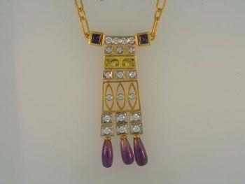 Masriera Art Deco pendant 1-1/2 carat total weight 5-Amethyst, 5/8 carat total weight 19-diamond, 18k yellow gold
