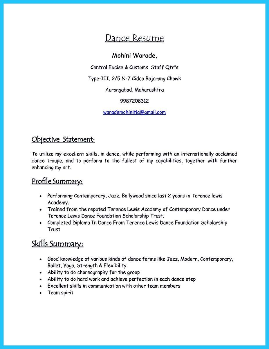 nice the best and impressive dance resume examples collections