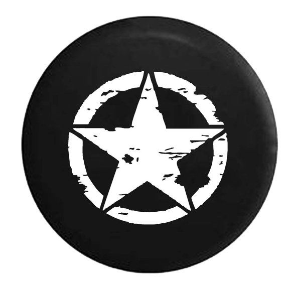 Jeep Tire Cover Oscar Mike Distressed Military Star Jeep